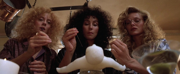 "Cher, Susan Sarandon, Michelle Pfeiffer in ""The Witches of Eastwick"""