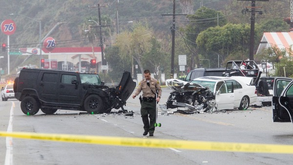 Bruce Jenner black SUV in a crash