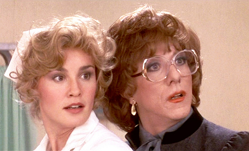 """Jessica Lange and Dustin Hoffman, wearing a wig and glasses in """"Tootsie"""""""