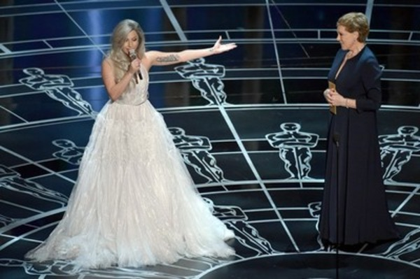 Julia Andrews and Lady Gaga at Oscar 2015