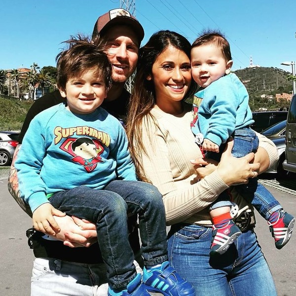 Lionel Messi, Antonella Roccuzzo and their children