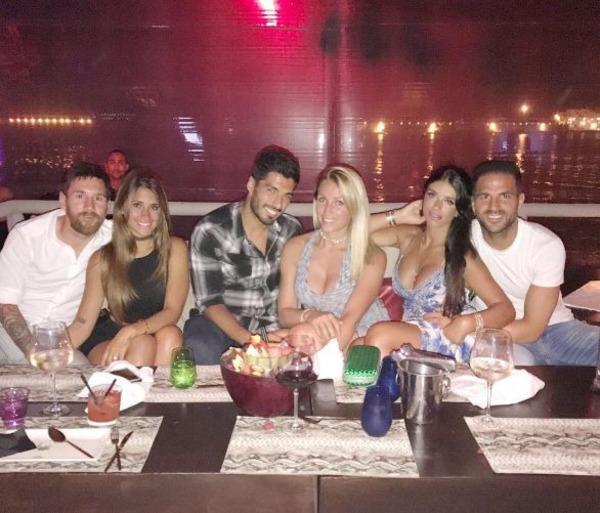 Lionel Messi, Antonella Rocuzzo, Luis Suarez, Cesc Fabregas, Sofia Balbi, Daniella Semaan
