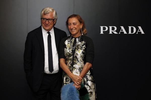 Miuccia Prada and her husband Patrizio Bertelli