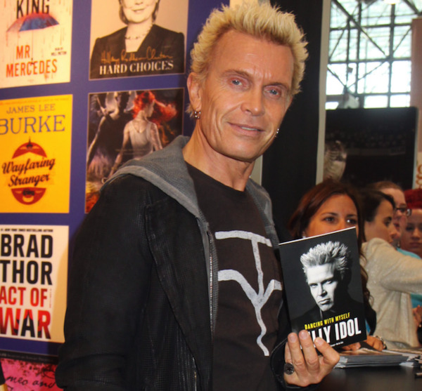 Billy Idol with his autobiography