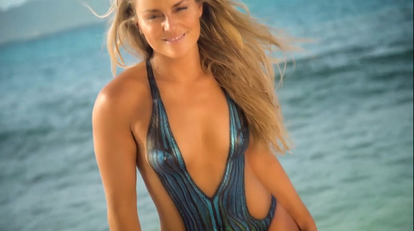 Lindsey Vonn poses for Sports Illustrated wearing a bodypaint swimsuit