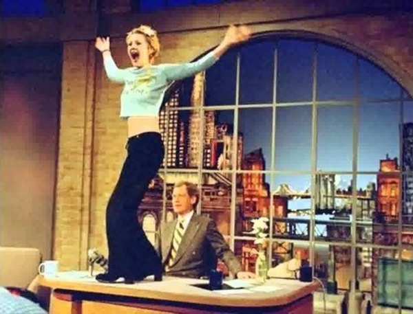 Drew Barrymore at David Letterman's show