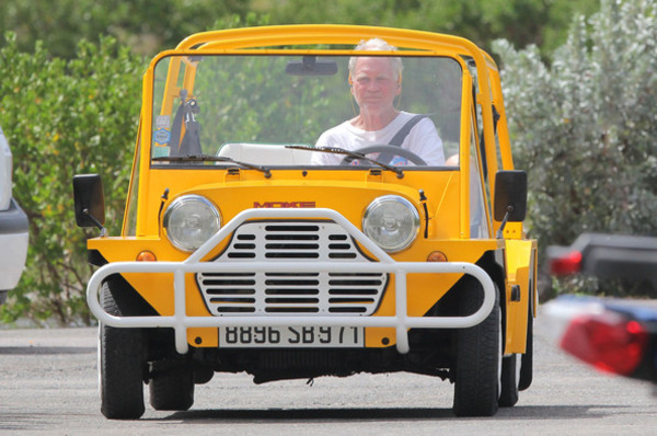David Letterman in his Mini Moke