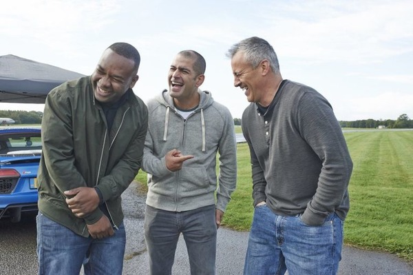 Matt LeBlanc (on the right) and Top Gear co-hosts Rory Reid and Chris Harris
