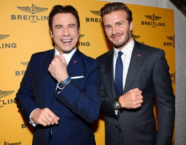 John Travolta and David Beckham endorse Breitling watches