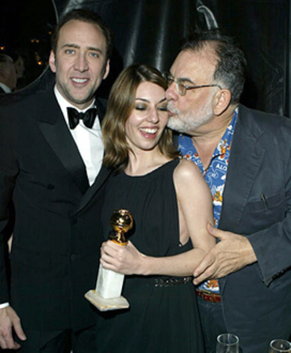 Sofia Coppola with her cousin Nicolas Cage and her father Francis Ford Coppola