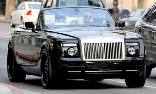 David Beckham in his  Rolls Royce Phantom