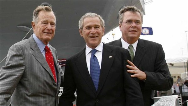 Jeb Bush (on the right) with his father and brother - former US Presidents