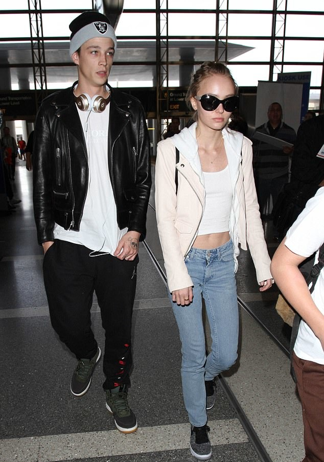 Lily-Rose Depp with her BF Ash Stymest