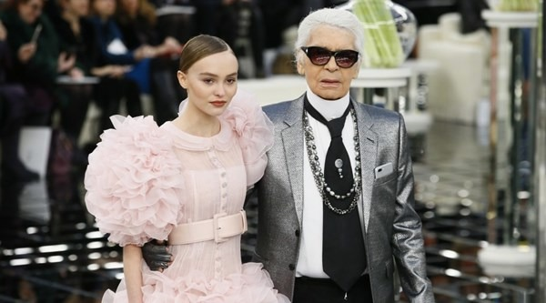 Lily Rose Depp with Chanel's creative director Karl Lagerfeld