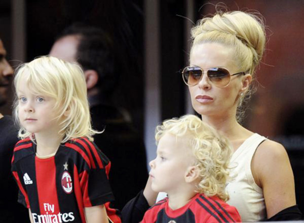 Helena Seger with her sons Maximilian Ibrahimovic and Vincent Ibrahimovic
