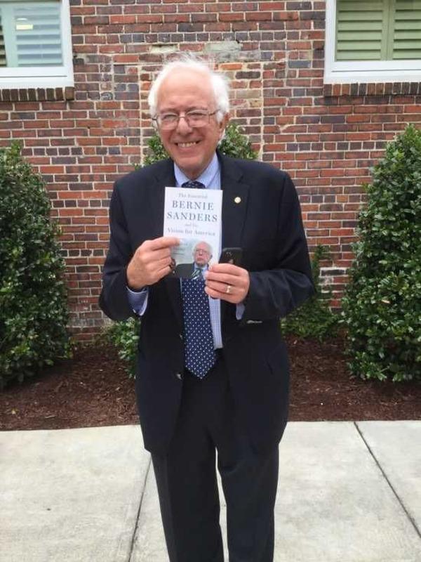 Sen. Bernie Sanders with his book