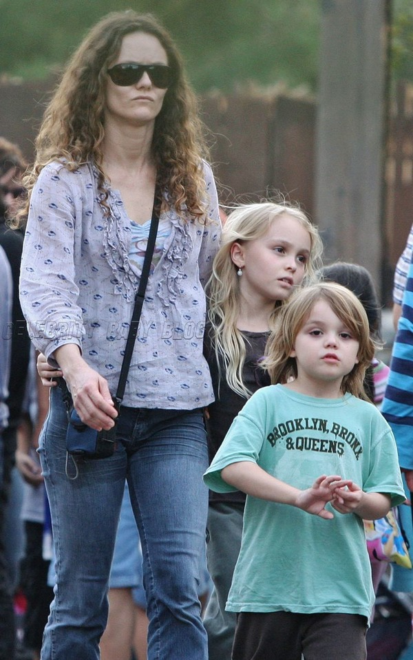 Small Lily-Rose Depp and Jack Depp with their mother Vanessa Paradis