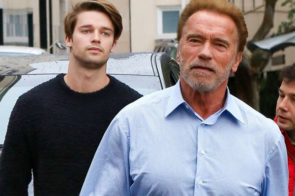 Patrick Schwarzenegger with his father Arnold Schwarzenegger