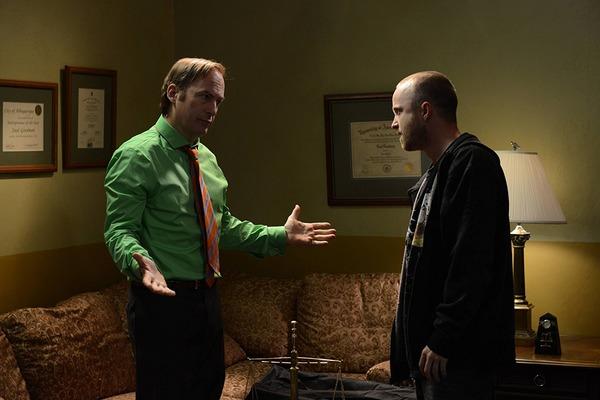 Bob Odenkirk as Saul Goodman and Aaron Paul as Jesse Pinkman  in Breaking Bad