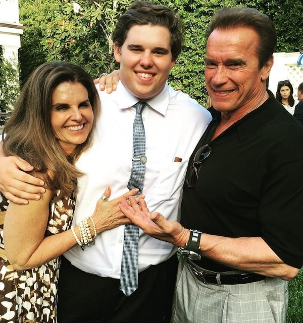 Arnold Schwarzenegger with his son Christopher and his ex-wife Maria Shriver