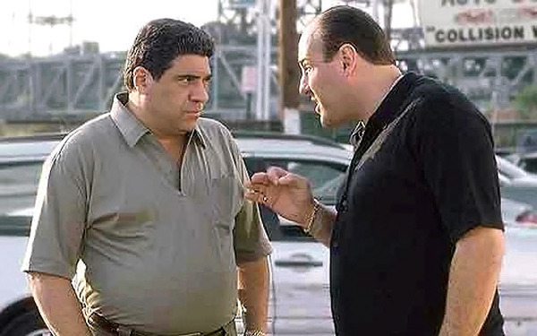 Vincent Pastore and James Gandolfini in The Sopranos