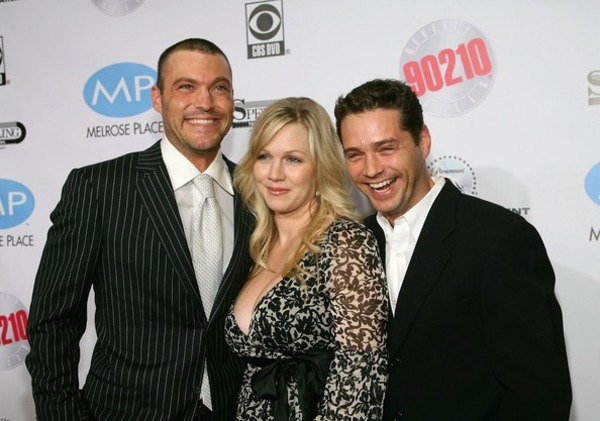 Brian Green with Beverly Hills co-stars Jennie Garth and Jason Priestley