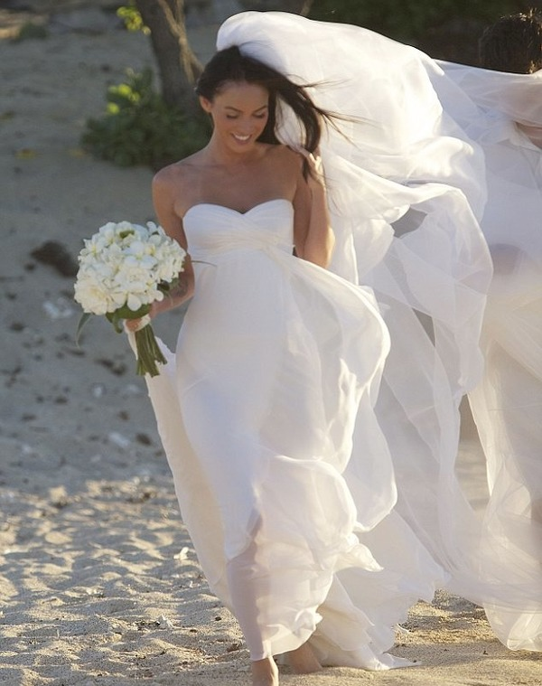 Megan Fox in a beautiful wedding dress from Armani Prive