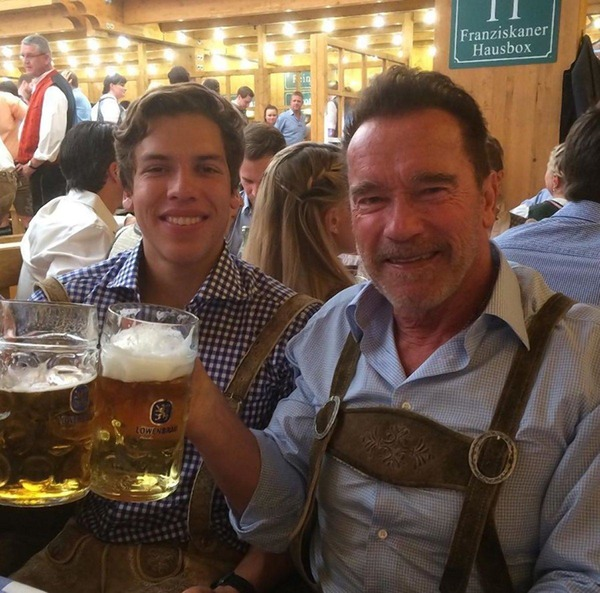 Arnold Schwarzenegger with his son Joseph Baena