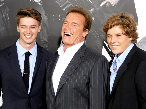 Arnold Schwarzenegger with his sons Patrick and Christopher