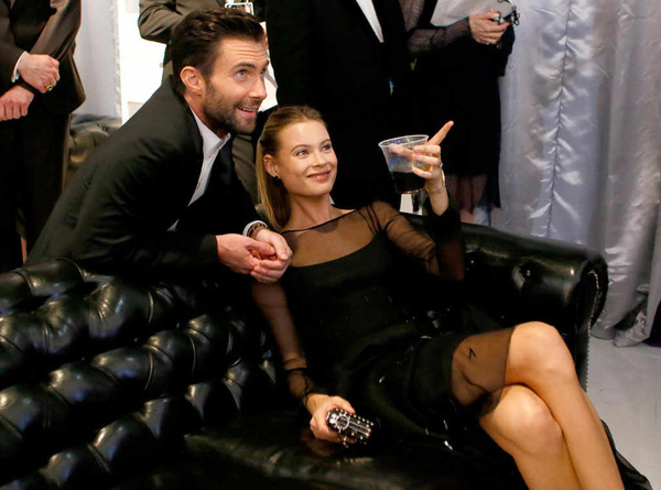 Behati Prinsloo with her husband Maroon 5 singer Adam Levine