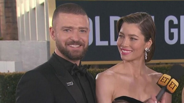 Justin Timberlake with his wife Jessica Biel