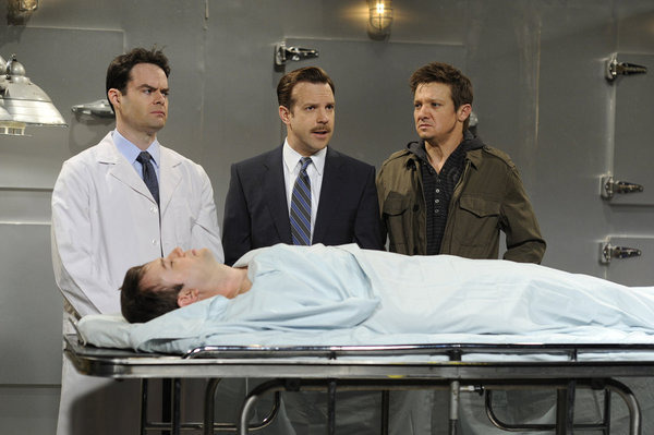 Bill Hader, Taran Killam, Jeremy Renner, and Jason Sudeikis in Saturday Night Live