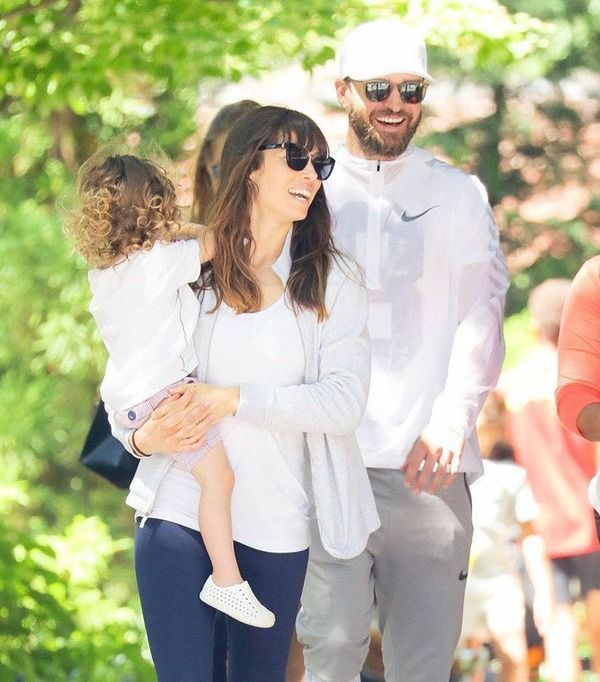 Justin Timberlake, his wife Jessica Biel and their son Silas