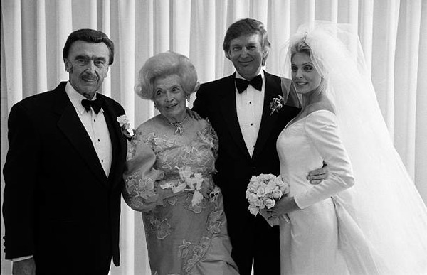 Donald Trump parents at his wedding to Marla Maples