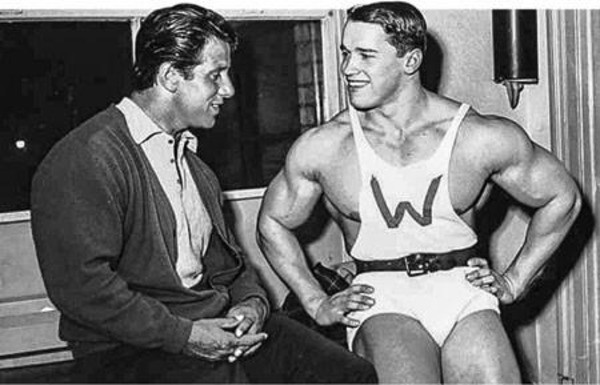 Arnold Schwarzenegger (on the right) with his role model Reg Park