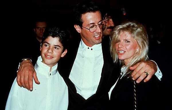 Sylvester Stallone with his wife Sasha Czack and their son Sage