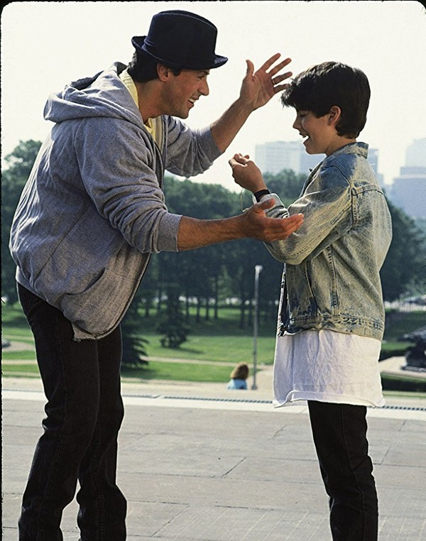 Sylvester Stallone and Sage Stallone in Rocky V