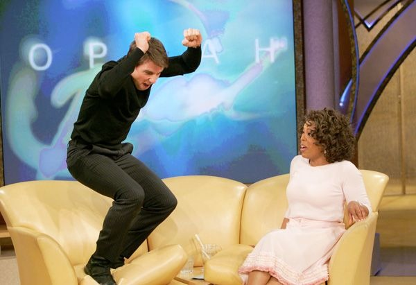 Tom Cruise jumps on the couch at Oprah Winfrey show