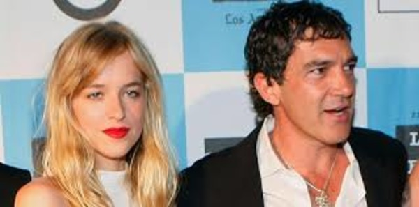 Dakota Johnson with her stepfather Antonio Banderas