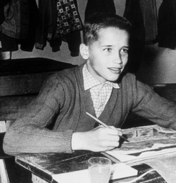 Arnold Schwarzenegger at school in Thal, Austria in 1958