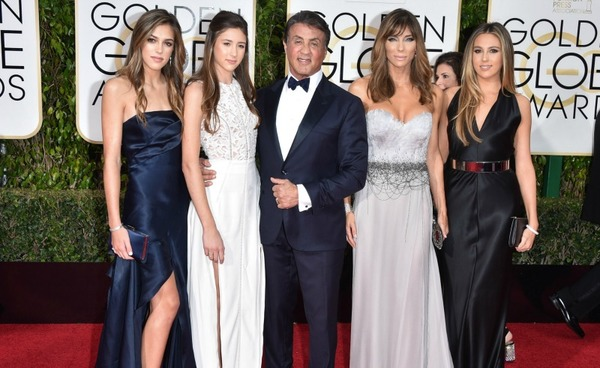 Sylvester Stallone with his wife Jennifer Flavin and their daughters