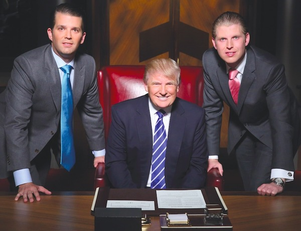 Donald Trump with his sons Don Jr and Eric