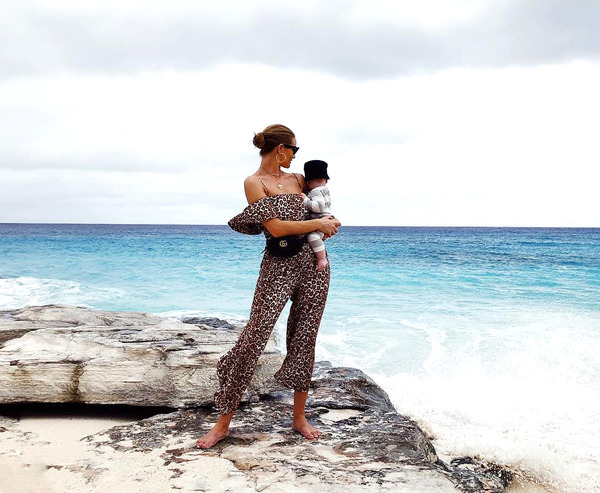 Rosie Huntington-Whiteley with her and Jason Statham son