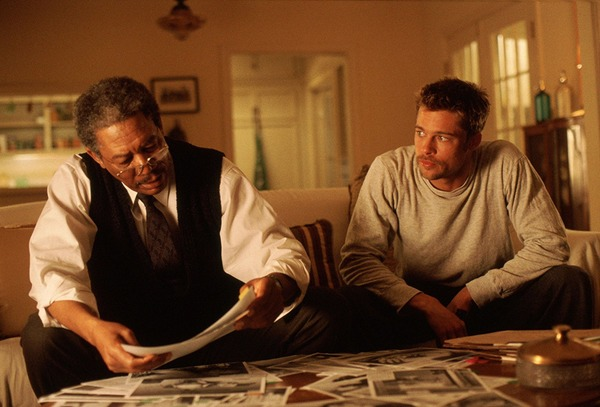 Brad Pitt and Morgan Freeman in Se7en