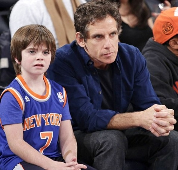 Quinn Stiller with his father Ben Stiller
