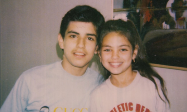 Small Mila Kunis with her brother