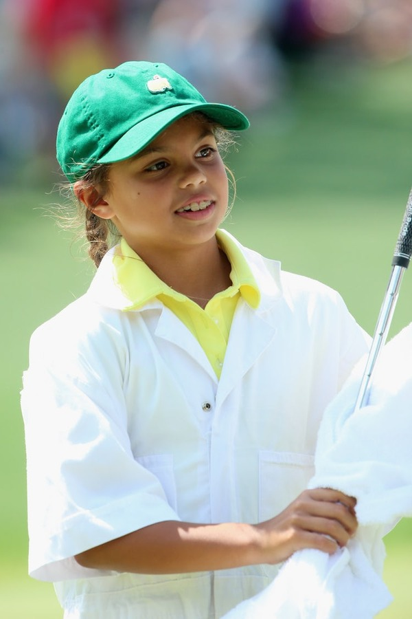 Tiger Woods daughter Sam serves as a caddie