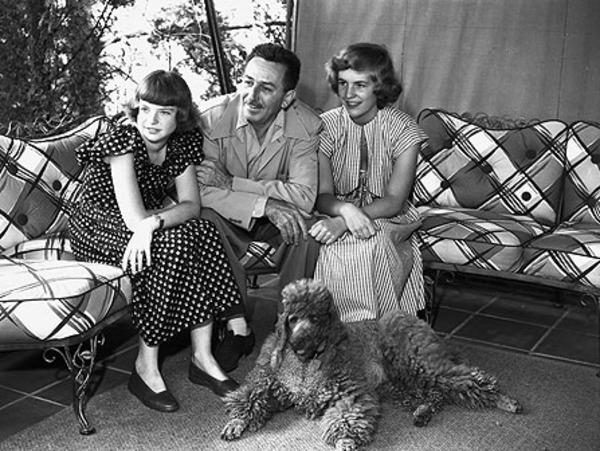 Walt Disney with daughters