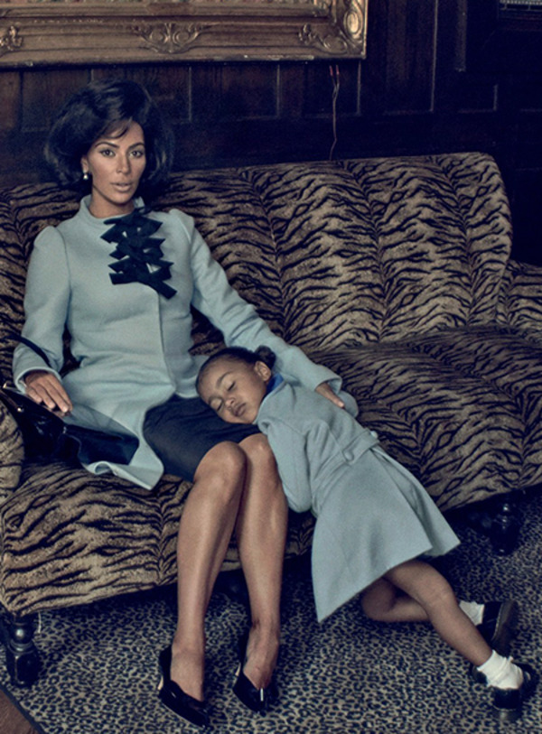 Kim Kardashian as Jackie Kennedy with her daughter North West