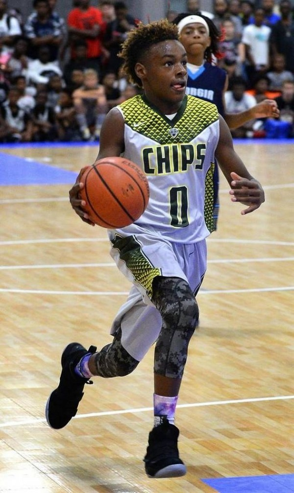 LeBron James Jr as a promising basketball player